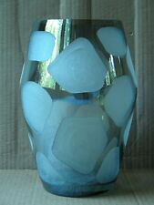 STEIN MART LARGE HEAVY FROSTED ETCHED AND SHADED GLASS VASE