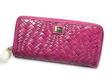 Cole Haan Optical Weave Travel Zip Leather Wallet Clutch Beet NWT