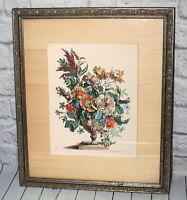 Vtg De Poilly Etching Print Framed Art Flower Arrangement Number 1 ex CPR V.S.