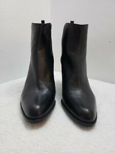 Stuart Weitzman Leather with Stretch Elastic Back Black  Boots Sz 9.5