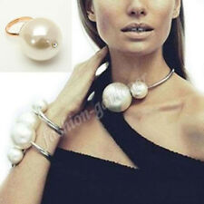 New Celebrity Runway Style Double Big Faux Pearls Collar Choker Bib Necklace