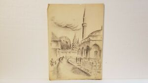 MOSQUE ... ORIGINAL PENCIL DRAWING ...HAND SIGNED...