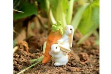 Miniature Dollhouse Fairy Garden - Rabbits Carrying Carrot - Accessories