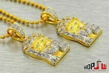 14k Gold Plated Simulated Diamond Double Jesus Piece Small Micro Chain Set Mens