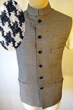 NEHRU vest collar houndstooth checker kurta 38 medium Mandarin India wedding MOD