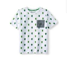 Minecraft Creeper Boys White Green Tee T-Shirt Size M 8
