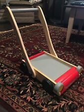 RARE! PLAN TOYS PRESCHOOL / BABY WOODEN PUSH CART SCOOT RIDE ON / PLAY MOWER!