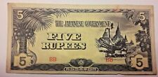 BURMA - THE JAPANESE GOVERNMENT 5 RUPEES 1942 - P 15b  WWII Occupation Japon