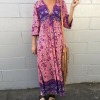 Womens V Neck Plus Size Dress Kimono Plunge Maxi Bohemian Long Sleeve Tassel HOT