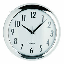 Chrome Round Wall Clock Home Office Living Room Deco Quartz Analogue Time Piece