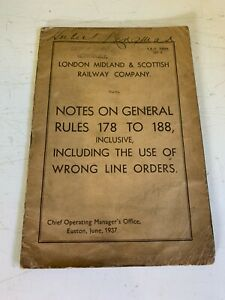 London, Midland & Scottish Railway - Notes on General Rules 178 to 188 - 1937