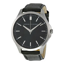 Armani Exchange Hampton Black Dial Black Leather Mens Watch AX2149