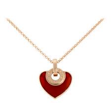 Bvlgari Bvlgari 18K Pink Gold Carnelian Cuore Pendant Necklace 351842