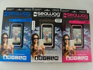 3-Pack SEAWAG Waterproof Case w/ Lanyard, Fits All Phones, Black Pink Blue