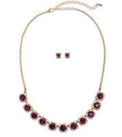 NEW Rich & Royal Purple and Clear Crystal Collar Necklace in Glistening Goldtone