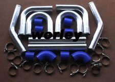 "2.5"" 64 mm Aluminum Universal Intercooler Turbo Piping pipe Kit + Blue hose kits"
