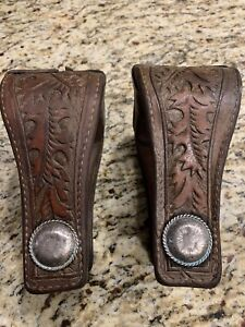 Dark Oil Leather Covered  Western Horse Saddle Stirrups ~ NICE!