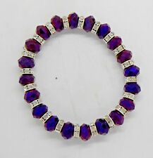 Purple Crystal Faceted Bracelet with Silver Diamante Spacer Beads