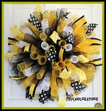 XL Steelers Pirates Saints Curly Spiral Mesh Wreath, Pittsburgh Sports Team