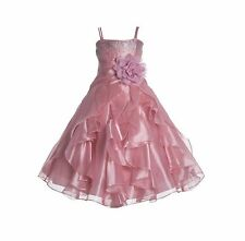 Wedding Organza Pleated Ruffled Flower Girl Dress Communion Party Pageant J120NF