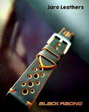 22, 20, 18 mm Racing Black Watch Strap De Montre Bracelet Buttero Leather strap