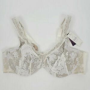 Cacique Lace Full Coverage Bra Women's Size 40C Underwire Lace Cream Brown New