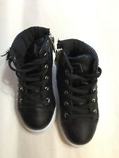 US Polo Association Black Faux Leather High Top Tennis Shoe Toddler Kids Size 7