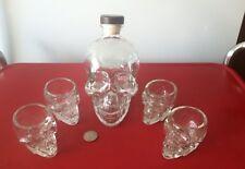 Figural Skull Bottle + Four Skull Glasses Halloween Party Time!