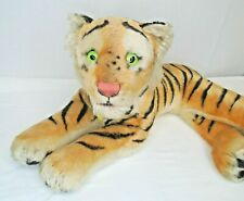 "Vintage Steiff Reclining Tiger Stuffed Animal Plush Ear Button Neck Tag 21"""