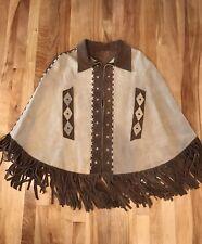 Vintage Poncho Cape Boho Festival Hippie Heavy Suede Leather Fringe Coat Sz M