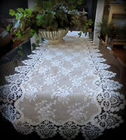 """Dresser Scarf Lace Table Runner 72"""" Doily Neutral Burlap Victorian Taupe Antique"""