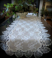 "Dresser Scarf Lace Table Runner 56"" Doily Neutral Burlap Victorian Taupe Antique"
