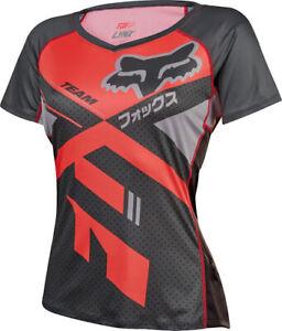 Fox Womens Lynx MTB Jersey - Dark Grey/Neo Red - Medium (HOT BUY)