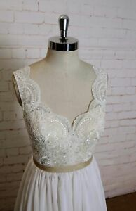 Clean Flowy White Lace Wedding Dress Custom made V-Neck low open Back Straps