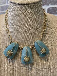 Kendra Scott Rare Vintage Amazonite Greta Necklace In Gold