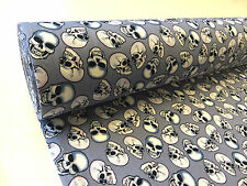 by the METER Grey 100% Cotton Fabric White grinning SKULLS goth horror halloween