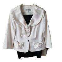 Tahari Arthur S Levine Womens 8 White Black Blazer Skirt Suit Lined Tie Snap NWT