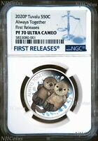 2020 TUVALU Always Together Otter Couple Silver Proof NGC PF 70 1/2oz Coin