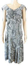 Per Una M&S Ladies occasion dress size 16 L Grey Silver Chiffon pretty tea dress