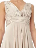 Biba Deep V Maxi Champagne Dress Womens Size 10 Small *REF145*