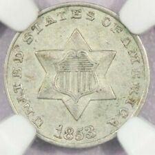 1853 3cs Three Cent Silver NGC AU58
