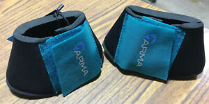 New Shires ARMA Bell Boots Over Reach Boot Pony Size Teal Neoprene Horse Tack