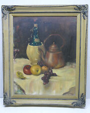 Vintage 50's Still Life Oil Painting On Board - Artist Signed  20 x 16
