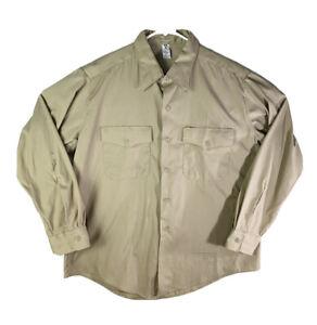 Vintage Military Shirt Flying Cross High Test Poplin Khaki Made in USA