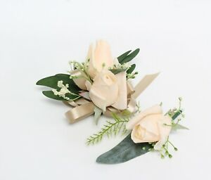 MADE IN USA-Corsage Boutonniere real touch rose fern Prom Homecoming wedding