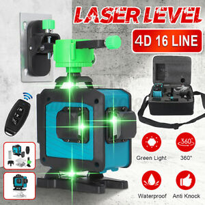 4D 360° 16 Lines Green Laser Level Auto Self Leveling Rotary Cross Measure Q