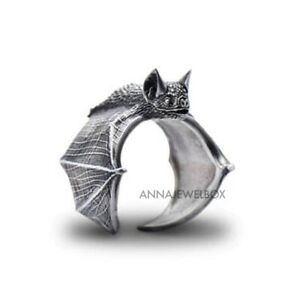 Adjustable Silver Bat Ring Band Gothic Punk Gift Celtic Wiccan Jewellery Gift UK