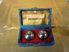 Chinese Iron Ball Direction Stress Relief Decorative w/ Cloth Wrapped Box