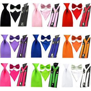 Men Solid Satin Bowtie 8cm Wide Necktie Hanky Pocket Square Braces Suspender Set