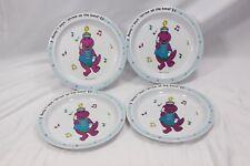 "Barney Strike Up the Band Plates 8.5"" Set of 4 Lyons Plastic"